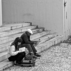 Two different Readers/Two different generations (pedrosimoes7) Tags: street people blackandwhite magazine reading book blackwhite gente reader cc readingbook creativecommons generations lendo leitor gentedeportugal blackwhitepassionaward