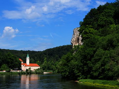P5270605 (photos-by-sherm) Tags: trees rock river germany boat spring ship tour danube narrows formations