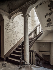 L'escalier d'espoir (_NeQo_) Tags: old light urban castle heritage abandoned architecture stairs golden peeling paint belgium ghost pillar neglected skylight olympus forgotten mysterious exploration decayed burned wrinkled urbex mystica explored dsaffecter