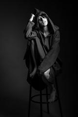 Meryem (aminefassi) Tags: portrait people blackandwhite bw fashion studio morocco maroc mode  tunic onelight  djellaba jellaba  strobist aminefassi meryembenjelloun
