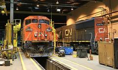 CN 2449 (GLC 392) Tags: railroad barn cn train illinois railway canadian il dash national shops ge homewood markham emd cowl 5475 sd60 2449 c408m 840cm