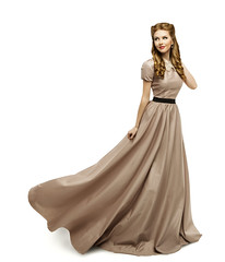 Woman Brown Dress, Fashion Model in Long Gown Turning on White (noor.khan.alam) Tags: old portrait people woman brown white history classic girl beautiful beauty fashion lady female hair flying dance clothing model glamour long dress dynamic dancing wind background fulllength victorian makeup posing style skirt retro latvia clothes fabric romantic historical flowing brunette gown cloth elegant waving period carefree turning isolated elegance revival womandress