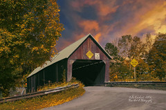 Covered Bridge in Woodstock ( julev69  1,850,000+ Views- THANK YOU!) Tags: lighting travel autumn trees sunset sky building fall nature clouds landscape vermont historic coveredbridge woodstock julev69 julieeverhart