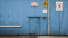 Mail Slot and Hobbit Door (Theen ...) Tags: 5 adelaide adelaidesecurityservices bar bewareofvehicles blue bright chapelstreet corrugated door enteratownrisk factory hobbit iron lumix mailslot paint red thebarton theen videosurveillancemoniringthesepremises white yellow