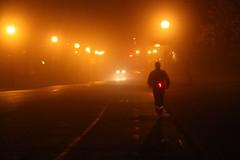 The foggy jogger / La nuit orange (Jacques Lebleu) Tags: orange fog night montral montreal runner nebbia nuit niebla brouillard notte jogger hps shp streetlighting coureur highpressuresodium saultaurcollet ahuntsiccartierville