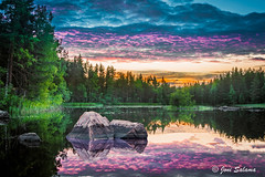 Pieksmki Sunset (Joni Salama) Tags: blue summer sky lake reflection green nature water photoshop suomi finland stones lila fi hdr vesi kes lightroom luonto jrvi sininen heijastus taivas pieksmki kivet vihre efekti southernsavonia on1effects