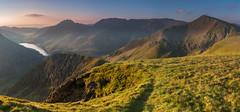 'Foel Goch Sunrise' - Snowdonia (Kristofer Williams) Tags: panorama sunlight mountains wales sunrise landscape dawn hiking valley snowdonia dyffryn hillwalking northwales glyders glyderau ogwenvalley foelgoch