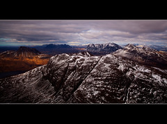 Snowy Peaks (Boyd Hunt) Tags: sky snow mountains clouds canon climb scotland highlands rocks loch peaks sutherland fiddler assynt