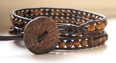 Tiger Eye Leather Wrap Bracelet (creechc) Tags: beads stones jewelry button bracelet beaded tigereye tigerseye wrapbracelet leatherwrap