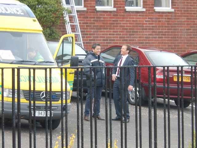 Waterloo Road 5/4/12 - Jason Done (Tom Clarkson) and ALEC Newman (Michael Byre) on set filming