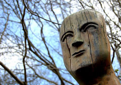 Face (Mrs S.A) Tags: wood sky nature face statue wooden gamewinner nikond40 15challengeswinner thechallengefactory