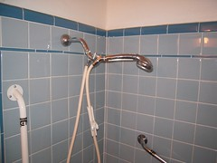Blue Bathroom Shower (CollectoratorOne) Tags: original tile bathroom shower 1940s 1950s tub faucet midcentury