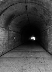 cool-tunnel (c.stewy) Tags: sanfrancisco california blackandwhite san shadows tunnel cal blac silouete