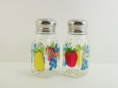 Salt Pepper Shakers Fruit Hand Painted Apple Pear Blueberries (Painting by Elaine) Tags: apple kitchen glass fruit pepper bottle painted salt saltshaker handpainted pear shakers blueberries saltpeppershakers paintingbyelaine