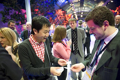 Exchanging business cards at the Summit