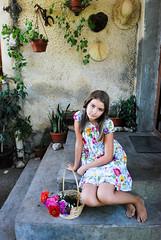 DSC_6779 (Luiza Sandru) Tags: flowers house girl smile garden basket dress rustic young patio
