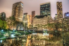 The Pond in Central Park at night HDR (Dave DiCello) Tags: newyorkcity newyork photoshop nikon centralpark manhattan tripod newyorkskyline empirestatebuilding nikkor hdr highdynamicrange nycskyline cs4 7worldtradecenter photomatix tonemapped colorefex cs5 d700 davedicello hdrexposed