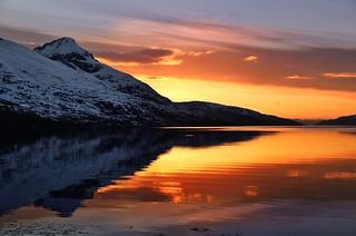 sunset reflections in Kaldfjord