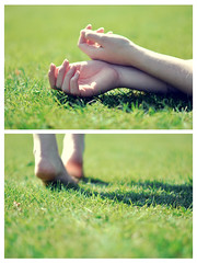 Everything will be okay in the end. If it's not okay, it's not the end. (Kaat dg) Tags: light portrait green feet nature foot 50mm hands nikon hand bokeh 14 d5100