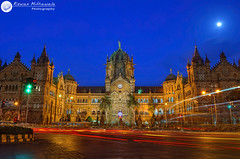 Chhatrapati Shivaji Terminus (The Victoria Terminus), Mumbai, Maharashtra - India ( Rizwan Mithawala) Tags: old city longexposure blue light red sea sky cloud moon india building green heritage clock architecture clouds facade digital lens photography town nikon long exposure traffic harbour indian small gothic transport central trails rail railway arches super unesco hour bombay western gloss restoration kit bluehour arabian nikkor mumbai rgb nr signal dri hdr vt maidan hdri hum cst blending gothicarchitecture rizwan azad hindustan supermoon d5100 rizwanmithawala mithawala dsc199 nknshrp