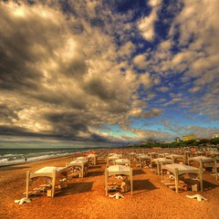 ready for summer (rinogas) Tags: italy cloud beach sunrise golden hdr veneto friuliveneziagiulia lignanosabbiadoro vertorama rinogas