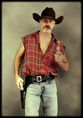Draw Cowboy ! (Cowboy Tommy) Tags: western cowboy hunk plaid jeans tight bulge guns pistols holster cowboyhat levis 505s 501s wrangs wranglers cigarette smoke hairychest hairy fur furry stache moustche mustache handsome model face portrait pinup