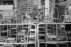 Stepladders of the Paparazzi (zawtowers) Tags: red white black france film monochrome festival stars french carpet riviera boulevard cannes famous photographers paparazzi glimpse press popular glance stepladder croisette