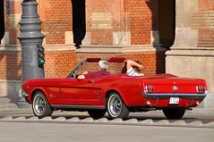 Hungary-0132 - A Mustang...! (archer10 (Dennis) REPOSTING) Tags: red car nikon hungary tour budapest free mustang dennis jarvis cosmos 2012 d300 iamcanadian 18200vr freepicture 70300mmvr dennisjarvis archer10 dennisgjarvis