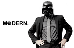 MODERN 1 (NolanGapske) Tags: white black fashion modern star starwars suits mask humor ad bowtie commercial darth saturation wars vader darthvader calvinklein helmets bilboard tiebar