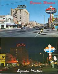 Bozeman, Montana, day and night, circa 1968 (STUDIOZ7) Tags: cars montana bozeman mt phonebooth postcard main streetscene gasstation 1960s roadside texaco sixties aaa rexall standardoil hotelbaxter beneficialloans