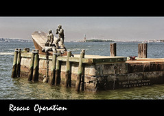 Merchant Mariners' Memorial (Far & Away (On assigment, mostly off)) Tags: nyc ny water statue horizontal liberty island bay ellis drowning