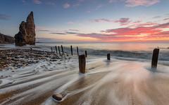 Seaham Sunrise (AntiAtlas) Tags: uk longexposure morning sea cloud sunrise landscape coast sand durham britain northsea seastack seaham chemicalbeach canon5d3