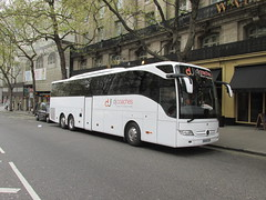 BU16GZM, Aldwych, London, 22/04/16 (aecregent) Tags: london mercedes aldwych tourismo triaxle djcoaches 220416 londonbuses2016 bu16gzm