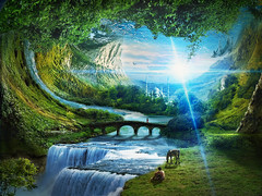 Inverted world (batkya) Tags: mountain photoshop river landscape waterfall fantasy mattepainting