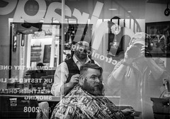 barber shop window and self portrait (Daz Smith) Tags: city uk portrait people urban blackandwhite bw haircut streets blancoynegro window monochrome shop canon reflections beard blackwhite bath candid citylife thecity streetphotography barber shave canon6d dazsmith bathstreetphotography