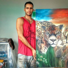 Artist and piece (Castro_Works) Tags: painting artist jaguar oilpainting amazonian fineartist
