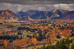 On Top Of Arrowtown || SOUTH ISLAND || NZ (rhyspope) Tags: new autumn sky mountain pope tree nature field clouds canon island view south pass zealand valley nz vista queenstown 5d crown range rhys arrowtown vantage mkii rhyspope