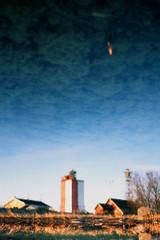 Watercolors of Uto island, Finland.    ,  (Iurii & Natali) Tags: old morning blue sea color reflection tower church water sunrise vintage suomi finland landscape island 50mm fuji view slide baltic velvia chrome m42 ddr analogue 135 beacon praktica fyr uto mtl5 aquaray yashican