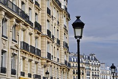 Facades Near Notre Dame (AntyDiluvian) Tags: street trip paris france building church lamp architecture facade cathedral notredame iledelacite 2015 rueducloitrenotredame
