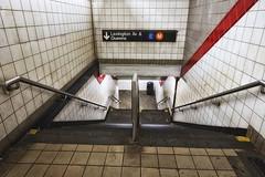 new york subway station (twurdemann) Tags: city newyorkcity urban newyork stairs tile unitedstates manhattan streetphotography dirty midtown transportation grime eline bleachbypass rapidtransit mline metropolitantransportationauthority nikcolorefex glamourglow detailextractor 2016tripnewyork