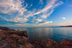 Un mar de nubes (saparmo) Tags: ocean sunset sea espaa water clouds atardecer mar rocks murcia nubes rocas anochecer islaplana horaazul