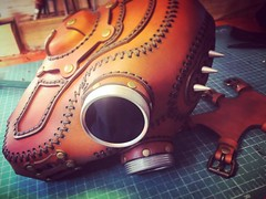 Mask done ready to me packed and shipped. #Cyberpunk #CyberGoth #postapocalyptic #postapocalypse #steampunk #steampunkmask #leathermask #handmade #LARP #dieselpunk #leather #Darkart #costume #burningman (tovlade) Tags: black girl face make up leather punk hand mask goth goggles made doctor cyber cybergoth cyberpunk plague larp steampunk postapocalyptic postapocalypse dieselpunk