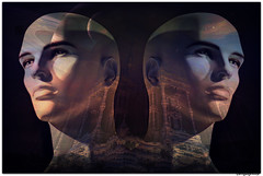 Dreaming of a New World (PaulO Classic. ) Tags: male mannequin window face mouth nose eyes head bald surreal textures storefront picmonkey