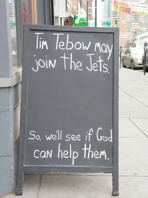 Tim Tebow may join the Jets. So, well see if God can help them.
