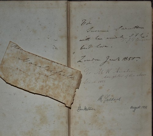 Dr J T Conquest inscription to niece Suzanne - Horae Paulinae 1850