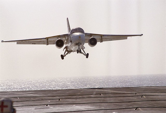 "Lockheed S-3 Viking on approach for a ""touch and go"" aboard the USS ENTERPRISE -  1984"
