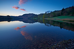 Dawn At Grasmere (mark_mullen) Tags: uk trees england moon rural sunrise reflections landscape dawn countryside scenery grasmere lakedistrict earlymorning serene redbank tranquil canon1740f4 canon1dsmkii markmullenphotography