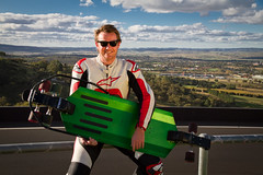 Bathurst street luge rider Mark Anderson at Mount Panorama (ABC Central West) Tags: sport racing downhill nsw bathurst streetluge 2795