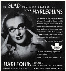 fashion vintage magazine frames glamour women ad ephemera advertisement vision 1940s sight eyeglasses spectacles harlequin 1943 eyewear cateye