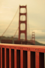 Golden Gate Bridge Fence (.OhSoBoHo) Tags: california bridge love canon fence 50mm dof bokeh goldengatebridge sanfranciso internationalorange hff nearsunset canoneos40d fencefriday 75thannniversary 19372012